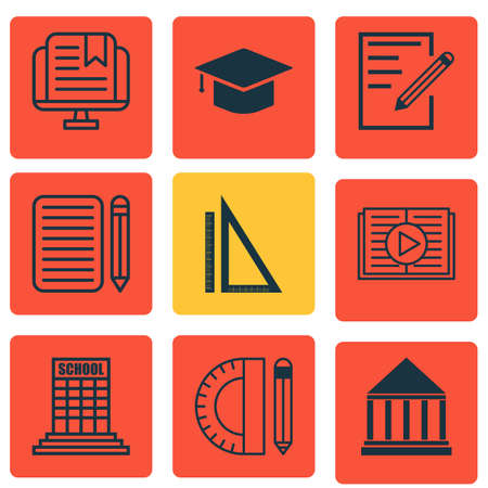 article writing: Set Of 9 School Icons. Includes E-Study, Education Tools, Graduation And Other Symbols. Beautiful Design Elements. Illustration
