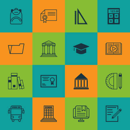 article writing: Set Of 16 School Icons. Includes Academy, Paper, Certificate And Other Symbols. Beautiful Design Elements.
