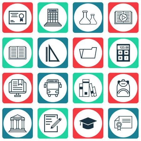 open magazine: Set Of 16 School Icons. Includes E-Study, Library, College And Other Symbols. Beautiful Design Elements.