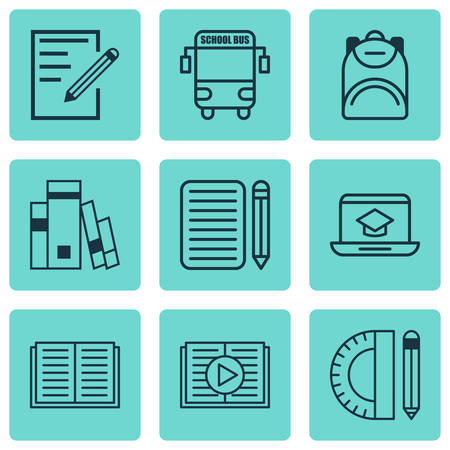 writing pad: Set Of 9 School Icons. Includes Home Work, Haversack, Paper And Other Symbols. Beautiful Design Elements. Illustration
