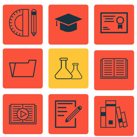 writing pad: Set Of 9 School Icons. Includes Library, Document Case, Education Tools And Other Symbols. Beautiful Design Elements.