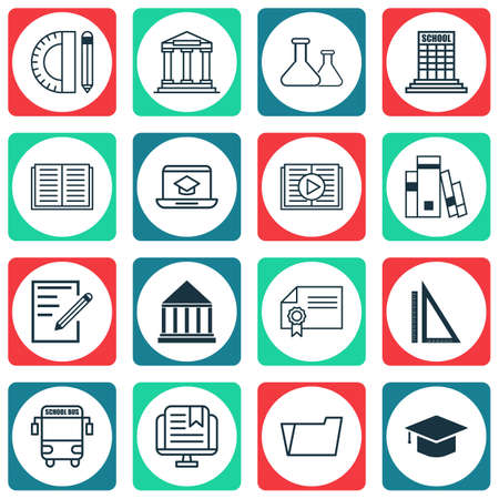 article writing: Set Of 16 School Icons. Includes Transport Vehicle, Taped Book, College And Other Symbols. Beautiful Design Elements. Illustration