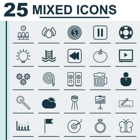 Set Of 25 Universal Editable Icons. Can Be Used For Web, Mobile And App Design. Includes Elements Such As Wedding Jewel, Flag Point, Aqua And More.