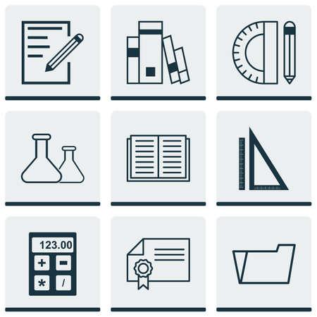 Ensemble de 9 icônes de l'école. Comprend le papier, l'outil électronique, le diplôme et les autres symboles. Beaux éléments de conception. Vecteurs