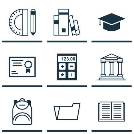 article writing: Set Of 9 School Icons. Includes Graduation, Haversack, Certificate And Other Symbols. Beautiful Design Elements.