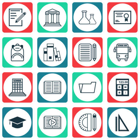 writing pad: Set Of 16 Education Icons. Includes Certificate, Transport Vehicle, Library And Other Symbols. Beautiful Design Elements. Illustration