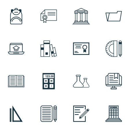 writing pad: Set Of 16 Education Icons. Includes Library, Diploma, Home Work And Other Symbols. Beautiful Design Elements.