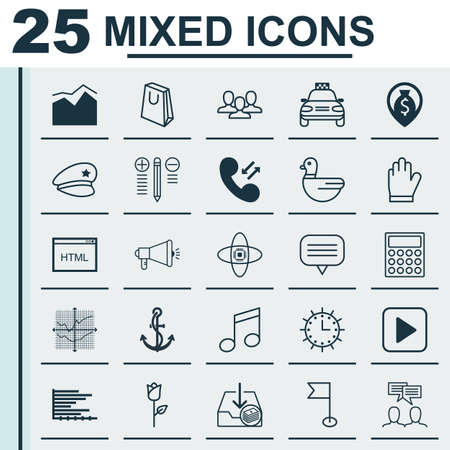 crotchets: Set Of 25 Universal Editable Icons. Can Be Used For Web, Mobile And App Design. Includes Elements Such As Broken Lines Chart, Crotchets, Decision Making And More. Illustration
