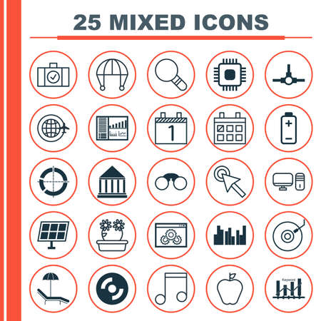 Set Of 25 Universal Editable Icons. Can Be Used For Web, Mobile And App Design. Includes Elements Such As Education Center, Gramophone, Keyword Optimisation And More.
