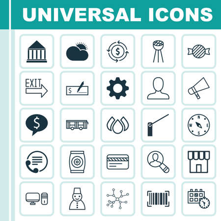 Set Of 25 Universal Editable Icons. Can Be Used For Web, Mobile And App Design. Includes Elements Such As Education Center, Business Deal, Snow Person And More. Illustration