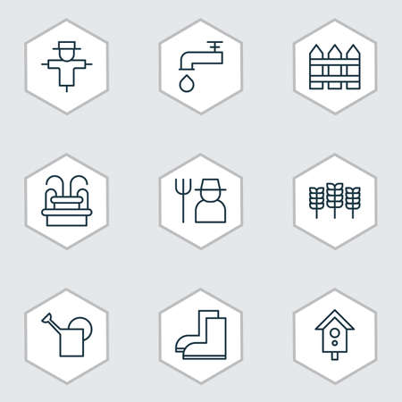 bailer: Set Of 9 Agriculture Icons. Includes Birdhouse, Bailer, Barrier And Other Symbols. Beautiful Design Elements.