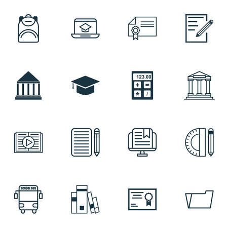 essay: Set Of 16 School Icons. Includes E-Study, Home Work, Paper And Other Symbols. Beautiful Design Elements.