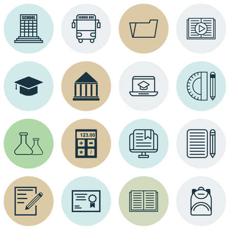 article writing: Set Of 16 Education Icons. Includes Distance Learning, Haversack, Graduation And Other Symbols. Beautiful Design Elements.