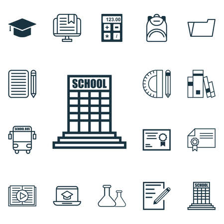 essay: Set Of 16 Education Icons. Includes Library, Education Tools, Transport Vehicle And Other Symbols. Beautiful Design Elements.
