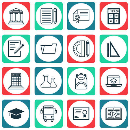 essay: Set Of 16 School Icons. Includes Taped Book, Academy, College And Other Symbols. Beautiful Design Elements.