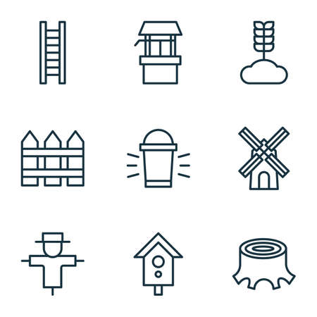 plant stand: Set Of 9 Gardening Icons. Includes Barrier, Water Source, Birdhouse And Other Symbols. Beautiful Design Elements.