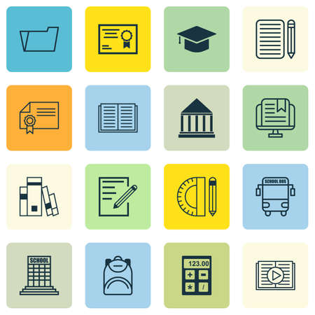 article writing: Set Of 16 Education Icons. Includes Education Center, Paper, Home Work And Other Symbols. Beautiful Design Elements.
