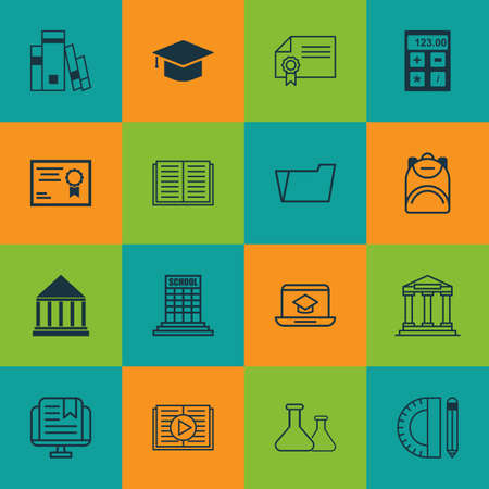 master degree: Set Of 16 Education Icons. Includes College, Education Tools, Chemical And Other Symbols. Beautiful Design Elements. Illustration
