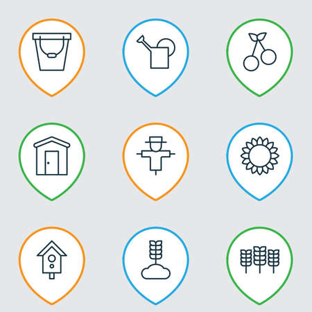 bugaboo: Set Of 9 Farm Icons. Includes Helianthus, Wheat, Sweet Berry And Other Symbols. Beautiful Design Elements.