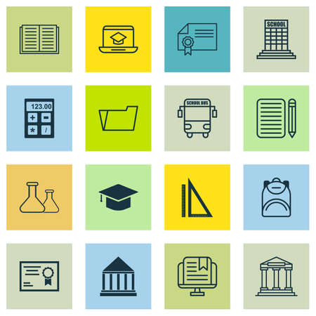 article writing: Set Of 16 Education Icons. Includes E-Study, Diploma, Measurement And Other Symbols. Beautiful Design Elements.