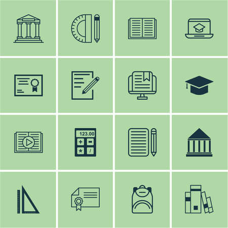 essay: Set Of 16 School Icons. Includes Library, Opened Book, Paper And Other Symbols. Beautiful Design Elements. Illustration