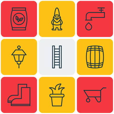 beer garden: Set Of 9 Garden Icons. Includes Spigot, Bush Pot, Lantern And Other Symbols. Beautiful Design Elements. Illustration
