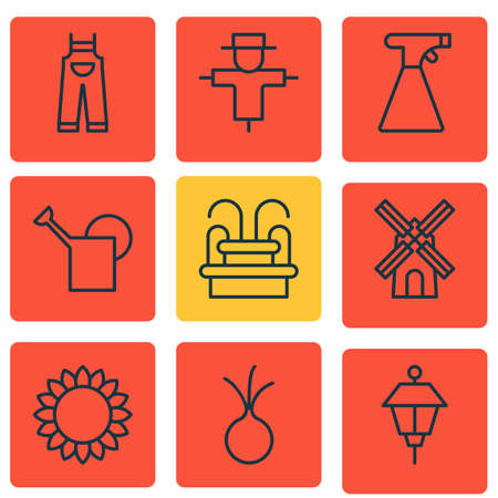 bailer: Set Of 9 Holticulture Icons. Includes Mill, Garlic, Bailer And Other Symbols. Beautiful Design Elements.