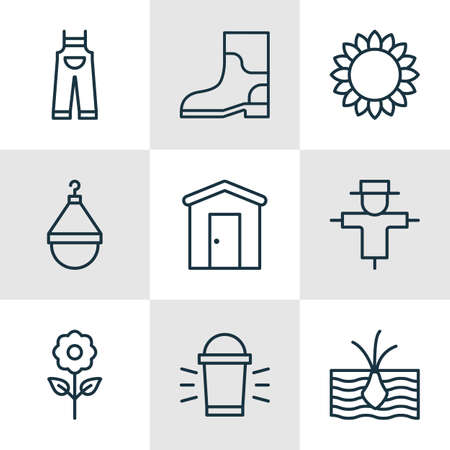 plant stand: Set Of Plant Icons. Includes House, Helianthus, Hanger And Other Symbols. Beautiful Design Elements.