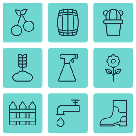 spigot: Set Of 9 Planting Icons. Includes Spigot, Rubber Boot, Sweet Berry And Other Symbols. Beautiful Design Elements.