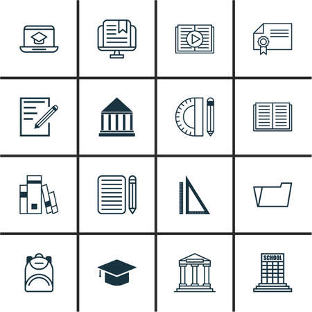 article writing: Set Of 16 School Icons. Includes Academy, Haversack, Opened Book And Other Symbols. Beautiful Design Elements. Illustration