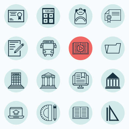 writing pad: Set Of 16 Education Icons. Includes Education Tools, Transport Vehicle, College.
