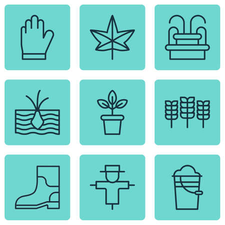 bugaboo: Set Of 9 Plant Icons. Includes Bugbear, Bucket, Growing Plant And Other Symbols. Beautiful Design Elements.