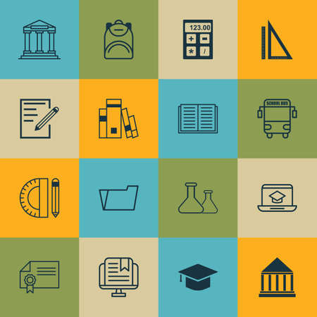 article writing: Set Of 16 School Icons. Includes E-Study, Library, Diploma And Other Symbols. Beautiful Design Elements. Illustration