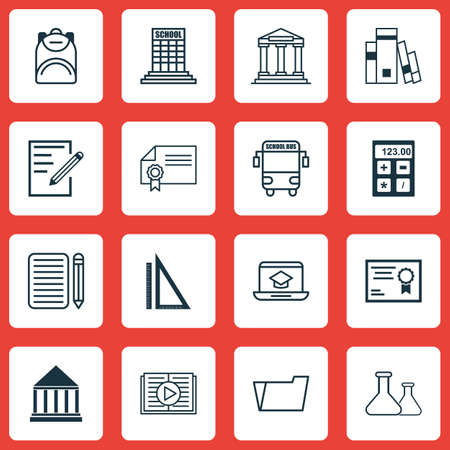 writing pad: Set Of 16 Education Icons. Includes Taped Book, Electronic Tool, Diploma And Other Symbols. Beautiful Design Elements. Illustration