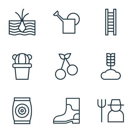bailer: Set Of 9 Gardening Icons. Includes Bailer, Stairway, Cereal And Other Symbols. Beautiful Design Elements.