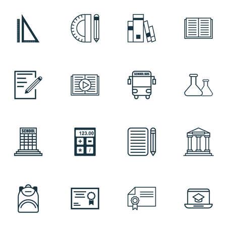 writing pad: Set Of 16 School Icons. Illustration