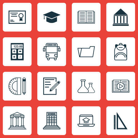 writing pad: Set Of 16 Education Icons. Includes Education Tools, Transport Vehicle, Paper And Other Symbols. Beautiful Design Elements. Illustration