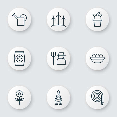 bailer: Set Of 9 Agriculture Icons. Includes Dwarf, Fire Tube, Bailer And Other Symbols. Beautiful Design Elements. Illustration
