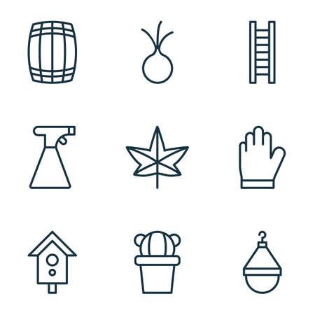 9 농업 아이콘의 집합입니다. 옷걸이, 캐스 크, 가을 식물 및 기타 기호가 포함됩니다. 아름 다운 디자인 요소입니다.