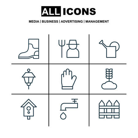 bailer: Set Of 9 Farm Icons. Includes Bailer, Spigot, Protection Mitt And Other Symbols. Beautiful Design Elements.