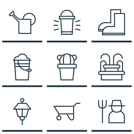 bailer: Set Of 9 Planting Icons. Includes Bailer, Bucket, Hang Lamp And Other Symbols. Beautiful Design Elements. Illustration