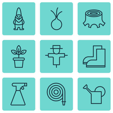 bailer: Set Of 9 Agriculture Icons. Includes Bailer, Tree Stub, Bugbear And Other Symbols. Beautiful Design Elements.