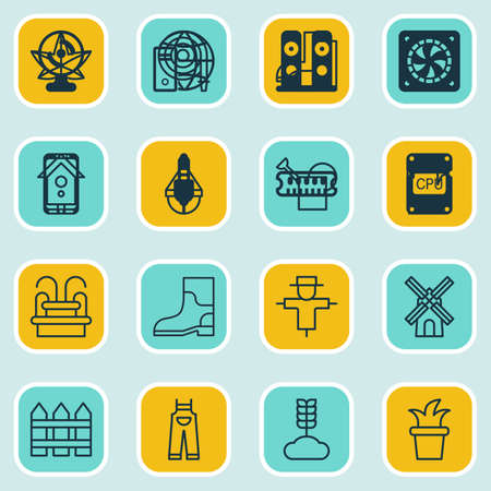bailer: Set Of 16 Farm Icons. Includes Garden Clothes, Bailer, Water Monument And Other Symbols. Beautiful Design Elements.