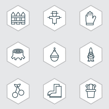 Set Of 9 Gardening Icons. Includes Tree Stub, Dwarf, Sweet Berry And Other Symbols. Beautiful Design Elements.