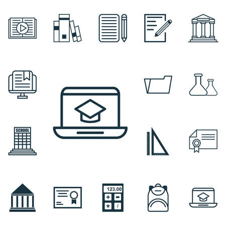 essay: Set Of 16 Education Icons. Includes Document Case, Haversack, College And Other Symbols. Beautiful Design Elements.