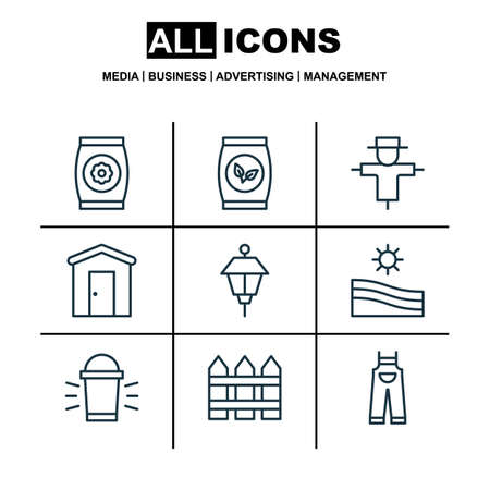 bugaboo: Set Of 9 Holticulture Icons. Includes Hang Lamp, Grains, Fertilizer And Other Symbols. Beautiful Design Elements.