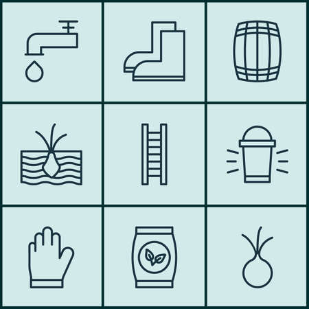 Set Of 9 Plant Icons. Includes Cask, Growing Plant, Spigot And Other Symbols. Beautiful Design Elements.