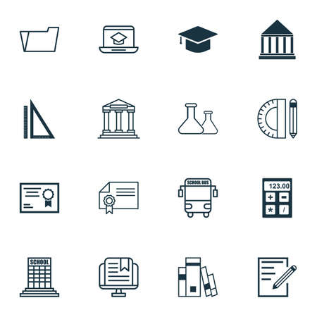 writing pad: Set Of 16 School Icons. Includes Transport Vehicle, Electronic Tool, Distance Learning And Other Symbols. Beautiful Design Elements.