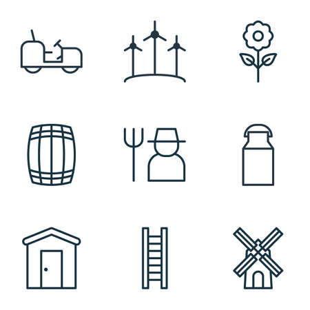 agrarian: Set Of 9 Holticulture Icons. Includes Mill, Farmhouse, Grower And Other Symbols. Beautiful Design Elements.