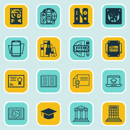 article writing: Set Of 16 School Icons. Includes Diploma, Academy, Certificate And Other Symbols. Beautiful Design Elements. Illustration